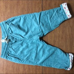 NWOT H&M Sz 12-18M Teal Corduroy Pants W/ Fabric
